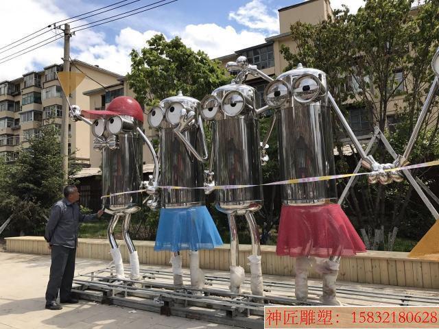 不锈钢小黄人雕塑,街景创意雕塑 (5)