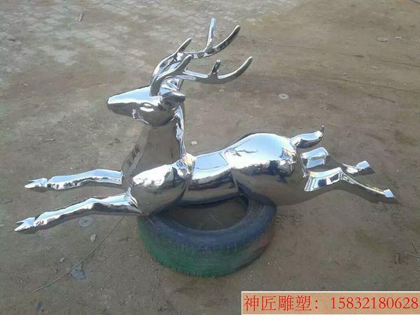 不锈钢小鹿雕塑,窝着的小鹿